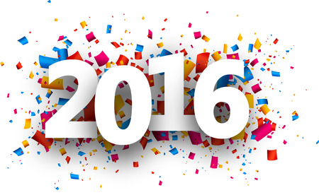 2016 Neujahrskarte mit Farb Konfetti. Vektor-Papier-Illustration. Illustration