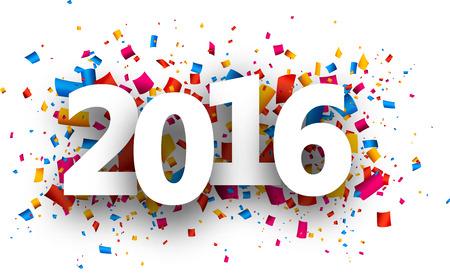 confetti: 2016 new year card with colour confetti. Vector paper illustration.