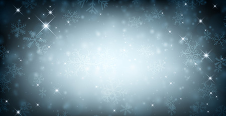 diciembre: Fondo de invierno con copos de nieve. Ilustración vectorial.  Vectores