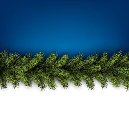 cadre: Сard with fir branches. Vector paper illustration. Illustration