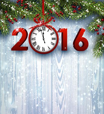 january: 2016 fondo de madera con ramas de abeto y reloj. Ilustraci�n del vector.