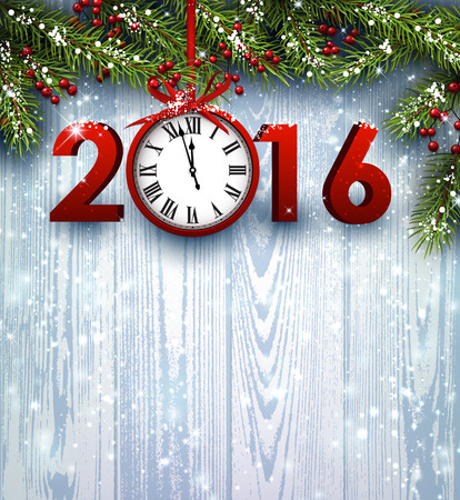 year january: 2016 wooden background with fir branches and clock. Vector illustration.