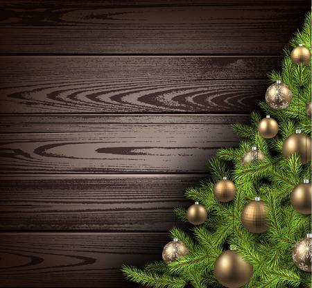 ocher: Christmas wooden background with christmas tree. Vector illustration. Illustration