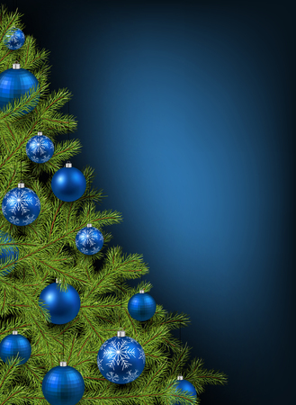 Christmas blue background with christmas tree. Vector illustration.