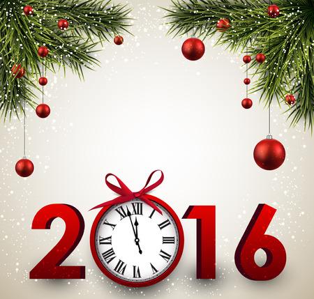 2016 Nieuwjaar achtergrond met dennentakken en klok. Vector illustratie.