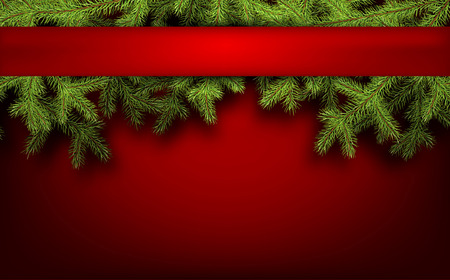 xmas card: Red card with fir branches. Vector paper illustration.