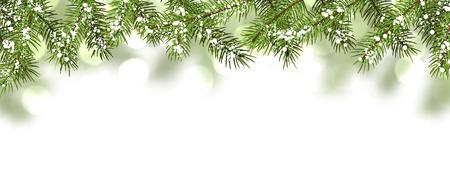 Winter kaart met dennentakken. Vector papier illustratie. Stock Illustratie