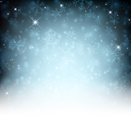 blue christmas background: Winter background with snowflakes. Vector illustration.