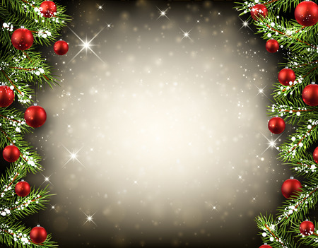 Christmas background with fir branches and balls. Vector illustration. Vettoriali