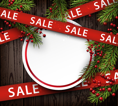 timbered: Wooden sale background with fir branches. Vector illustration. Illustration