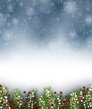 winter background: Winter background with fir branches. Vector paper illustration.