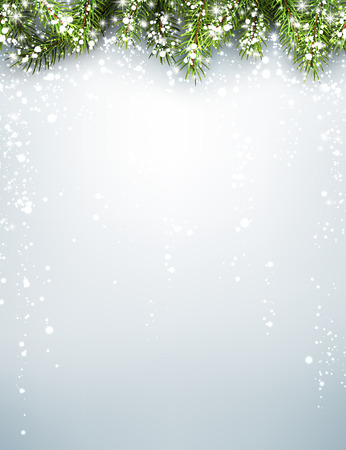 christmas card template: Winter xmas background with fir branches. Vector illustration.