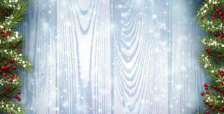 Winter-Holz-Hintergrund mit Tannenzweigen. Vektor-Papier-Illustration.