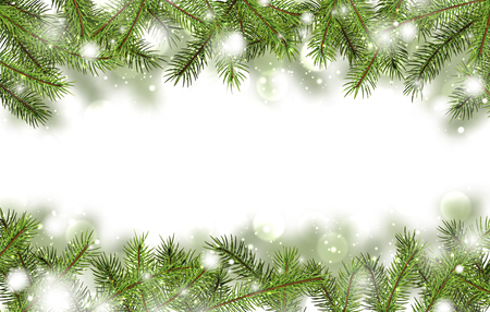 Winter card with fir branches. Vector paper illustration.