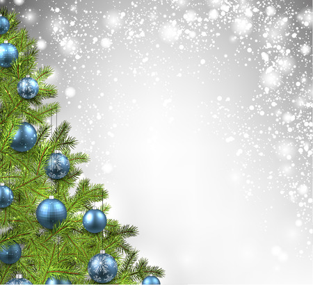 blue green background: Christmas shining background with christmas tree. Vector illustration. Illustration