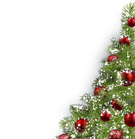 red ball: Christmas white background with christmas tree. Vector illustration.
