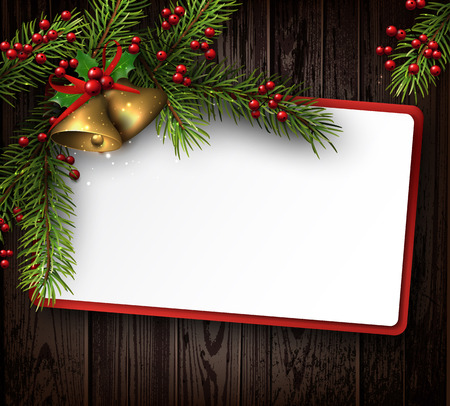 golden frame: Christmas card with fir branches. Vector paper illustration.
