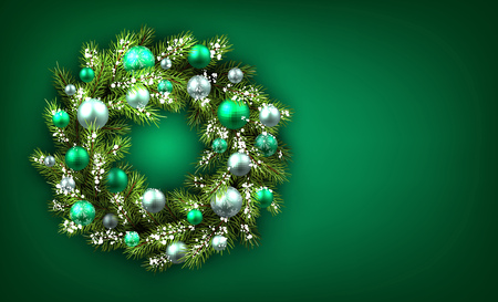 Green background with Christmas wreath. Vector illustration.