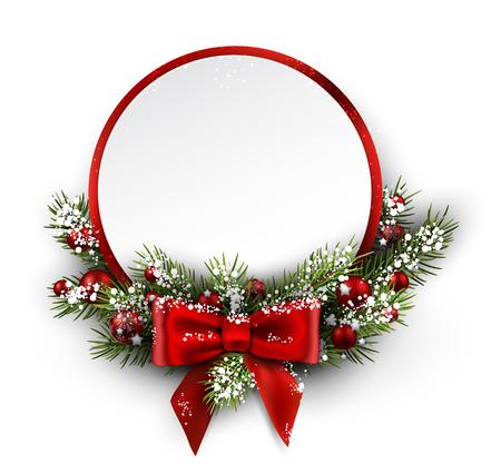 abetos: Tarjeta de Navidad con la rama de abeto y el arco. Ilustración del vector. Vectores