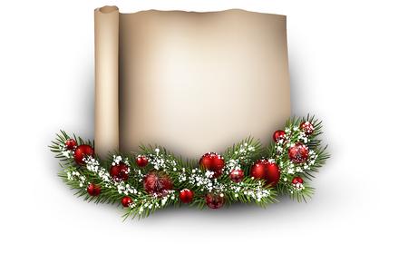 congratulatory: Christmas congratulatory background with fir branch. Vector illustration.