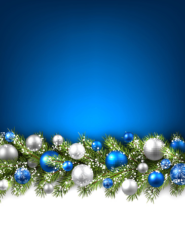 Blue card with fir branch and balls. Vector paper illustration.