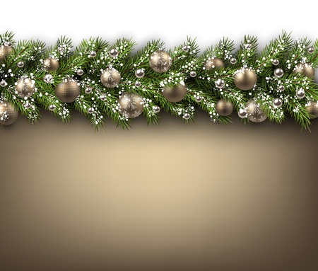 fir branch: Christmas card with fir branch and balls. Vector paper illustration.
