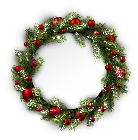 White card with Christmas wreath. Vector paper illustration. Ilustração