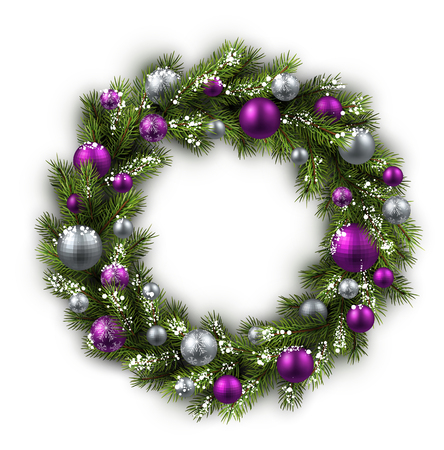 violet purple: White card with Christmas wreath. Vector paper illustration. Illustration