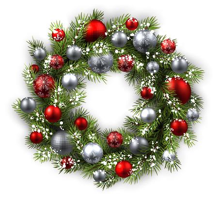 크리스마스 화 환 흰색 카드. 벡터 종이 그림.