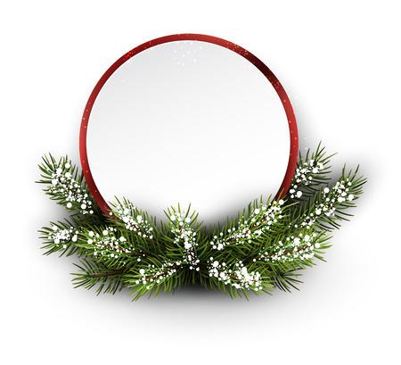 marcos redondos: Tarjeta de Navidad con la rama de abeto y copos de nieve. Ilustración del vector.