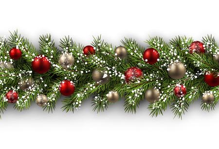White card with fir branch and balls. Vector paper illustration. Ilustração