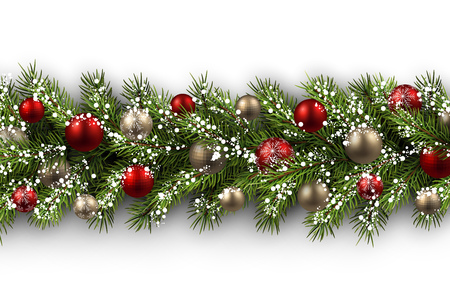 fir tree balls: White card with fir branch and balls. Vector paper illustration. Illustration