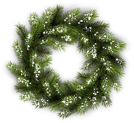 felicitation: White card with Christmas wreath. Vector paper illustration. Illustration