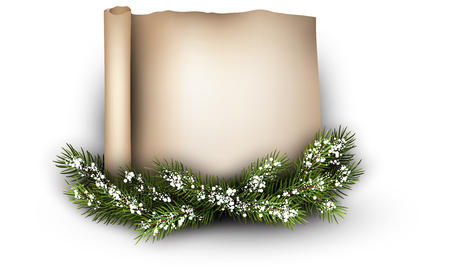 congratulatory: Christmas congratulatory background with fir branch. Vector illustration.