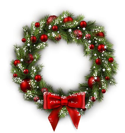 natale: Scheda bianca con la corona di Natale e fiocco. Illustrazione vettoriale.