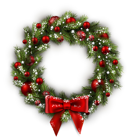 merry xmas: White card with Christmas wreath and bow. Vector illustration.
