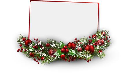 Christmas card with fir branch. Vector illustration.
