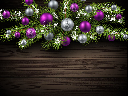 green and purple: Christmas wooden background with fir branch and balls. Vector illustration.