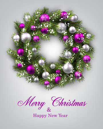 christmas tree purple: New Year and xmas card with Christmas wreath. Vector illustration.