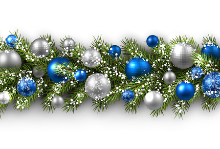christmas balls: White card with fir branch and balls. Vector paper illustration. Illustration