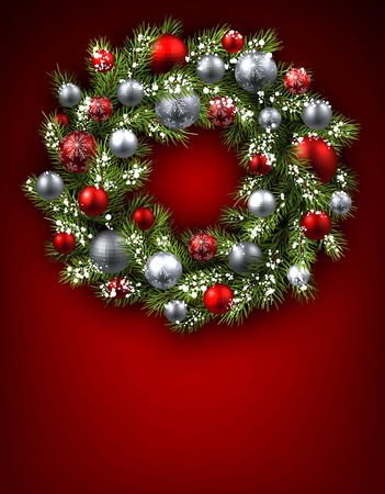 Red background with Christmas wreath. Vector illustration.