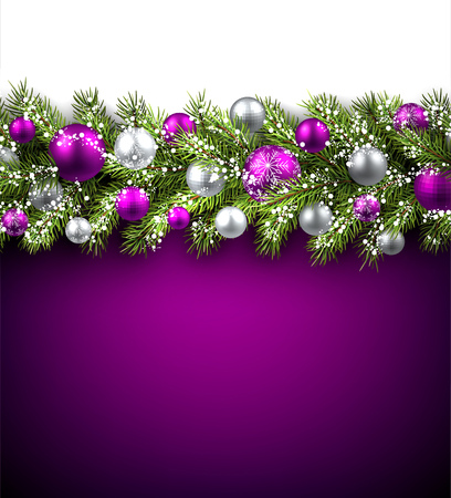 green and purple: Purple card with fir branch and balls. Vector paper illustration. Illustration