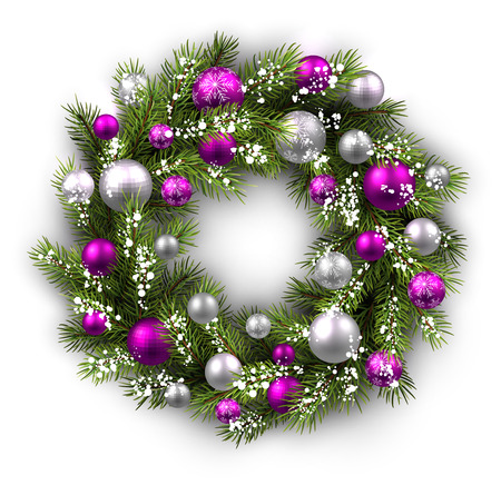 green and purple: White card with Christmas wreath. Vector paper illustration. Illustration