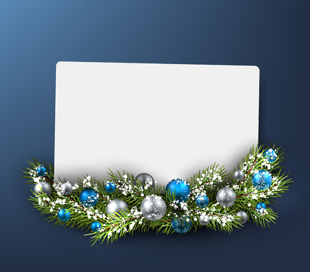 Christmas blue card with fir branch. Vector illustration. Vettoriali