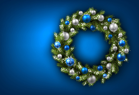 blue christmas background: Blue card with Christmas wreath. Vector paper illustration. Illustration