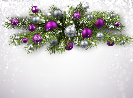 purple: Christmas background with fir branch and balls. Vector illustration.