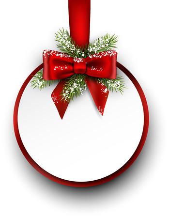 モミ枝と弓のクリスマス カード。ベクトルの図。