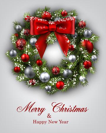 Neues Jahr und Weihnachtskarte mit Weihnachtskranz. Vektor-Illustration.