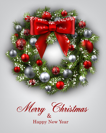 christmas wreath: New Year and xmas card with Christmas wreath. Vector illustration.