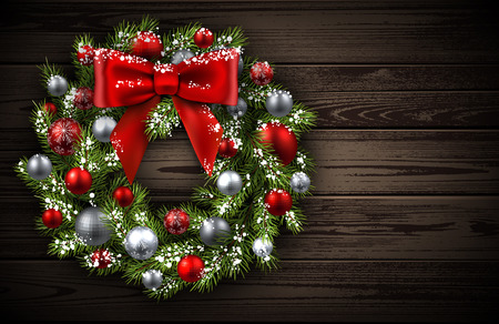 Wooden card with Christmas wreath. Vector paper illustration.
